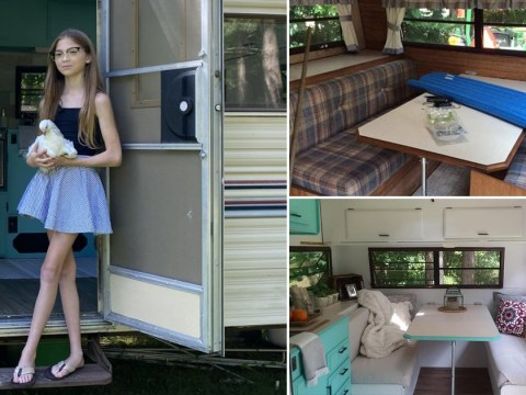 11-year-old saves up £600 to make her own 'tiny home' from run-down caravan
