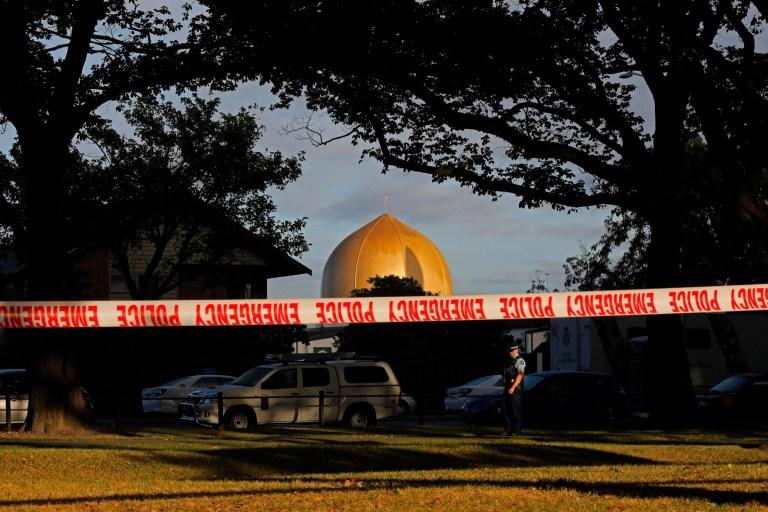 Mosquée Masjid Al Noor à Christchurch, Nouvelle-Zélande, où l'une des deux fusillades de masse a eu lieu.  Plus de 60 survivants et membres de leur famille affronteront le tireur de la mosquée néo-zélandaise lors de la condamnation de quatre jours à compter du lundi 24 août 2020.