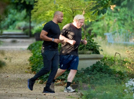 Boris Johnson running in central London with celebrity trainer Harry Jameson, who he has hired to help him lose weight after his coronavirus health scare