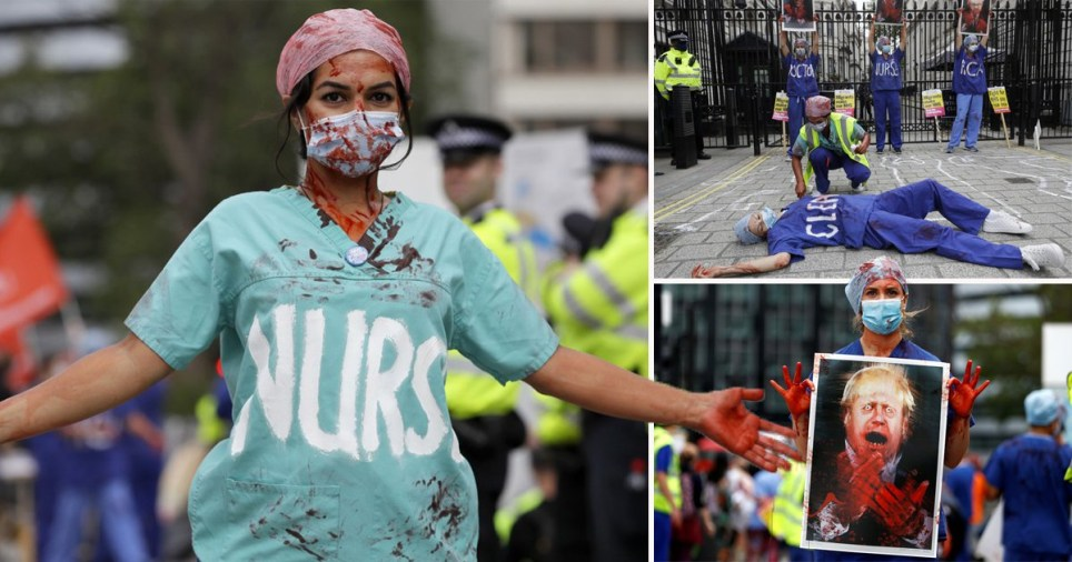 NHS staff in bloody pay rise protest