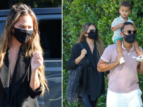 Pregnant Chrissy Teigen steps out for cute ice cream date with John Legend and their kids