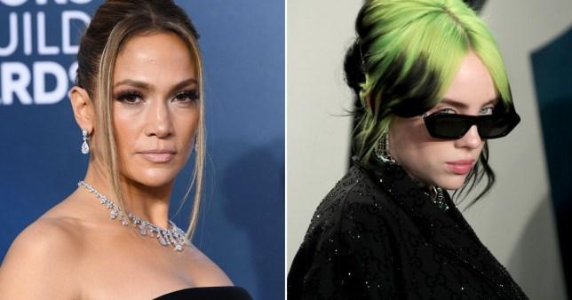 Jennifer Lopez pictured alongside Billie Eilish