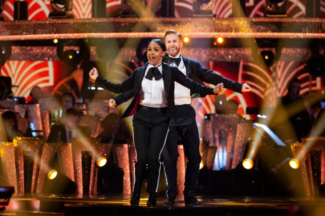 For use in UK, Ireland or Benelux countries only Undated BBC handout photo of Alex Scott MBE and Neil Jones during the BBC1 dance contest, Strictly Come Dancing. PA Photo. Issue date: Sunday October 20, 2019. See PA story SHOWBIZ Strictly. Photo credit should read: Guy Levy/BBC/PA Wire NOTE TO EDITORS: Not for use more than 21 days after issue. You may use this Issue without charge only for the purpose of publicising or reporting on current BBC programming, personnel or other BBC output or activity within 21 days of issue. Any use after that time MUST be cleared through BBC Issue Publicity. Please credit the image to the BBC and any named photographer or independent programme maker, as described in the caption.