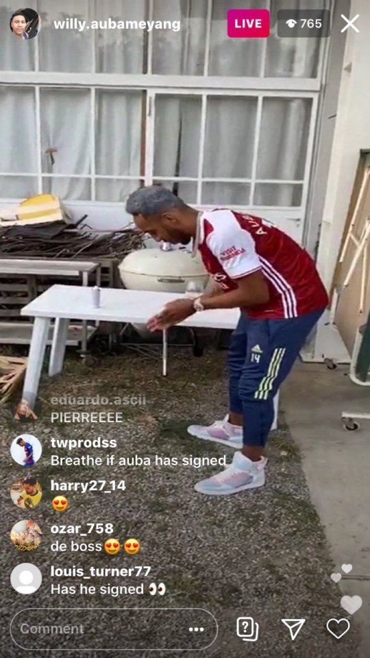 Pierre-Emerick Aubameyang dyed his hair red and white for the party