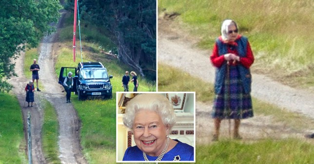 The Queen out for a walk on the grounds of Balmoral on her summer break.