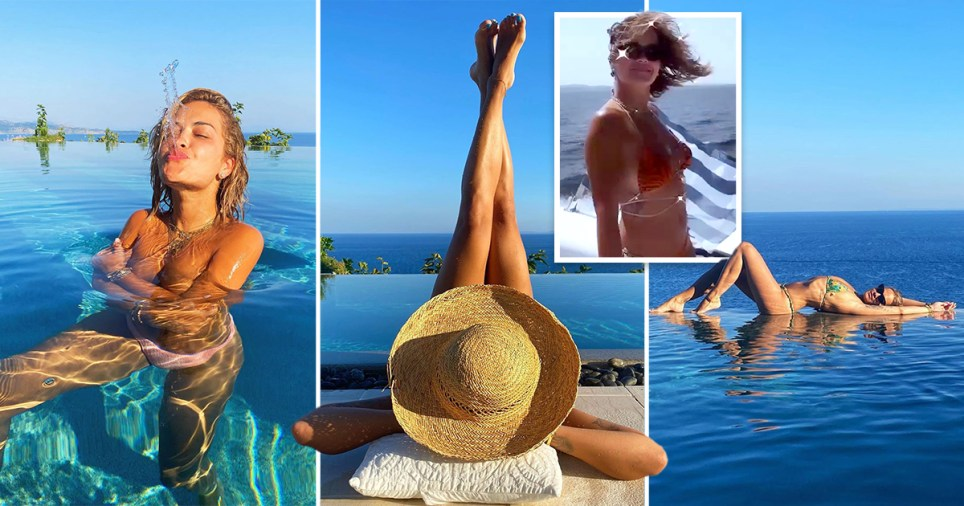 Rita Ora pictured in the pool on holiday