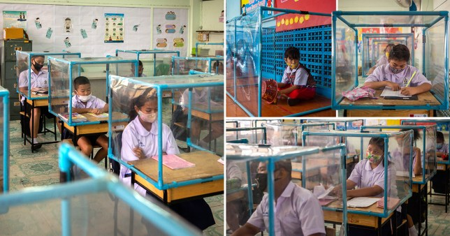 Thailand school puts children in boxes as they return to classes