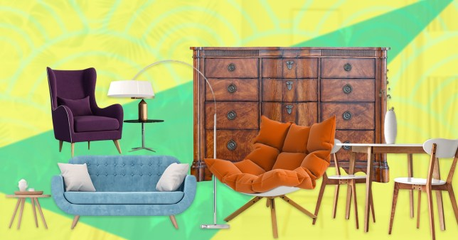 pieces of furniture on a colourful background