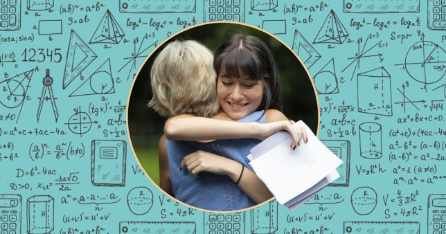 teenager getting exam results and hugging mum
