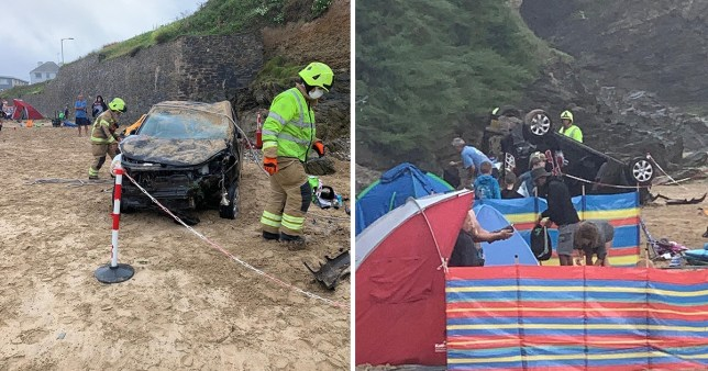 Driver lucky to escape injury after plunging off cliff onto beach