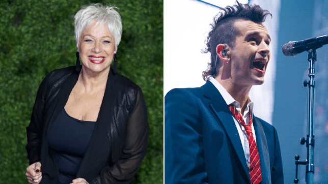Denise Welch and Matty Healy performing with The 1975