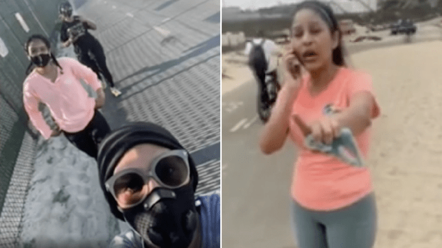 Composition of the three joggers and screen grab of the racist woman