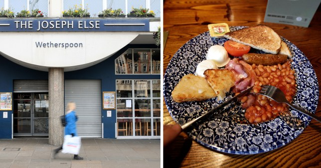 Split image of exterior of Wetherspoons and a full English breakfast on a plate.