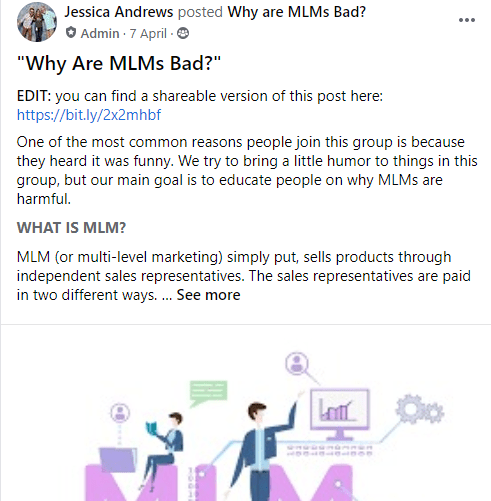 One of the posts from the Facebook group Sounds Like MLM But OK, which says Why are MLMs Bad?