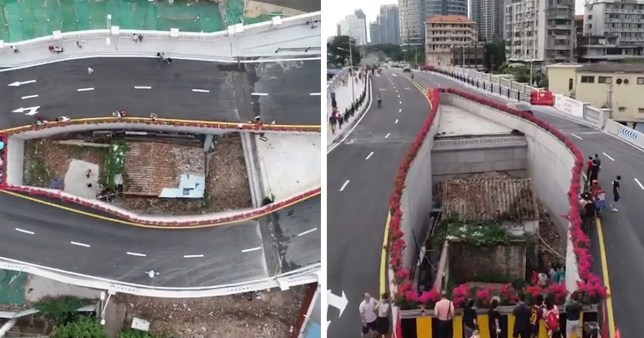 Chinese city builds motorway bridge around house after its stubborn owner refused to move for 10 years