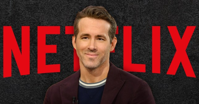Ryan Reynolds pictured in front of Netflix logo
