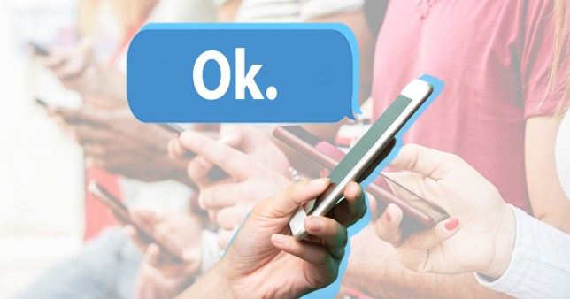 person on their phone with the messaging saying 'ok'