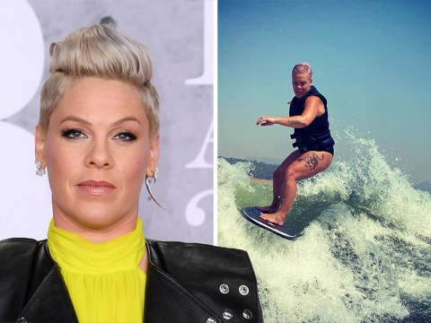 Pink embraces 'thunder thighs' while wakeboarding in empowering social media message