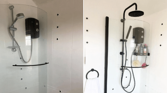 shower before and after Emma George's monochrome DIY transformation