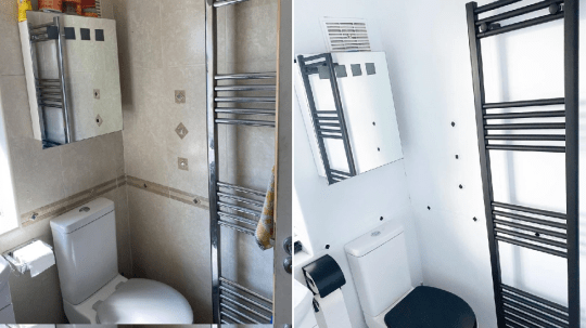 bathtub before and after DIY monochrome transformation