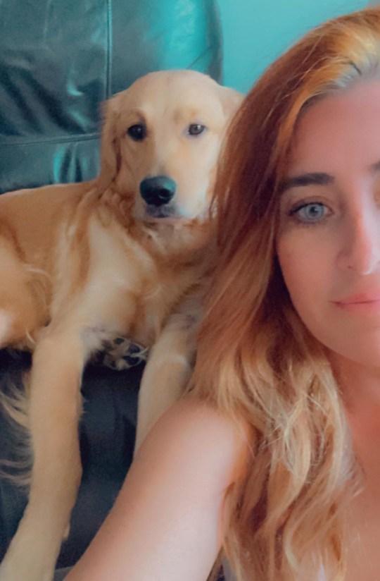 Rikka the dog and her owner Melissa Belanger taking a selfie together.