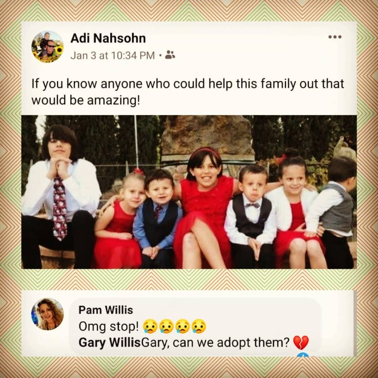 Facebook post about the seven orphaned children