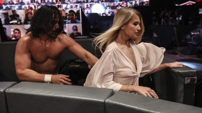 WWE superstar Angel Garza and The Bachelor star Demi Burnett on Raw