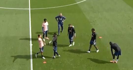Dani Ceballos squares up to Arsenal teammate Eddie Nketiah during heated pre-match warm up