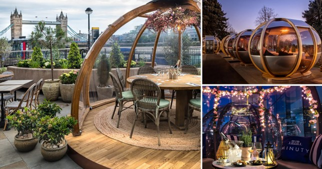 several dining pods at different restaurants