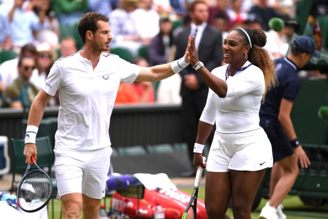 Andy Murray of Great Britain and Serena Williams of The United States react during their Mixed Doubles first round match against Andreas Mies of Germany and Alexa Guarachi of Chile during Day six of The Championships - Wimbledon 2019 at All England Lawn Tennis and Croquet Club on July 06, 2019 in London, England.