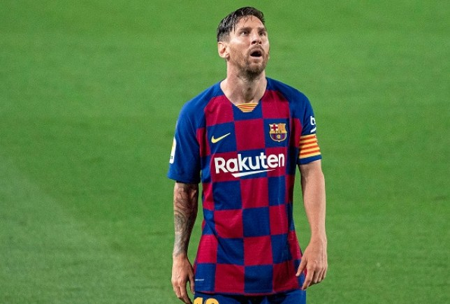 Lionel Messi looks on during Barcelona's clash with Osasuna