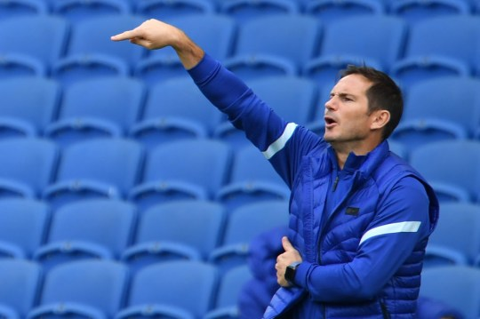 Lampard looks on during Chelsea's clash with Brighton