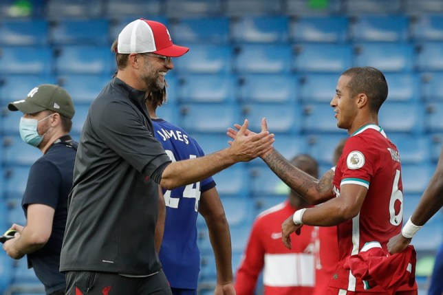 Jurgen Klopp and Thiago Alcantara shake hands after Liverpool's Premier League victory over Chelsea