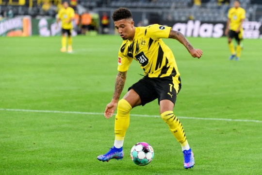 Jadon Sancho of Borussia Dortmund controls the ball during the Bundesliga match between Borussia Dortmund and Borussia Moenchengladbach at Signal Iduna Park on September 19, 2020 in Dortmund, Germany. Fans are set to return to Bundesliga stadiums in Germany despite to the ongoing Coronavirus Pandemic. Up to 20% of stadium's capacity are allowed to be filled. Final decisions are left to local health authorities and are subject to club's hygiene concepts and the infection numbers in the corresponding region.