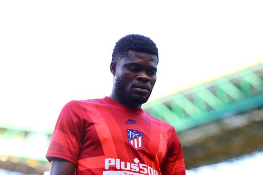 Thomas Partey of Atletico de Madrid looks on prior to during the UEFA Champions League Quarter Final match between RB Leipzig and Club Atletico de Madrid at Estadio Jose Alvalade on August 13, 2020 in Lisbon, Portugal.