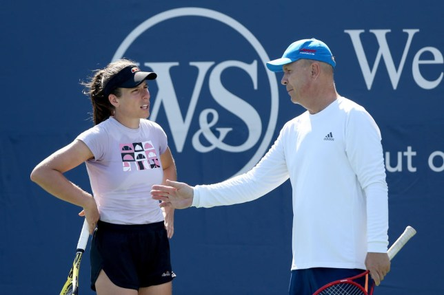 Johanna Konta of Great Britain trains with her coach Thomas Hogstedt prior to the Western & Southern Open at the USTA Billie Jean King National Tennis Center on August 21, 2020 in New York City.