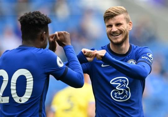 Timo Werner celebrates scoring for Chelsea against Brighton