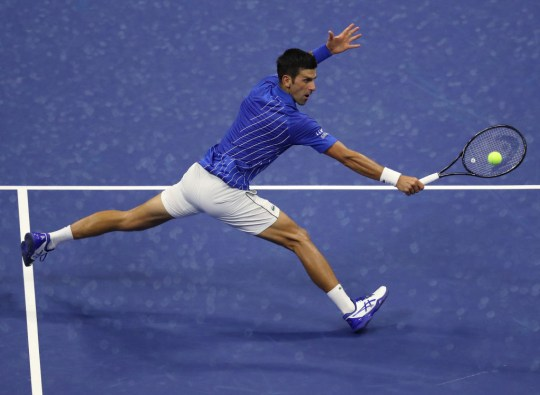 Novak Djokovic of Serbia returns a volley during his Men's Singles first round match against Damir Dzumhur of Bosnia and Herzegovina on Day One of the 2020 US Open at the USTA Billie Jean King National Tennis Center on August 31, 2020 in the Queens borough of New York City