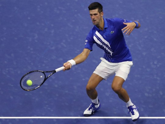 Novak Djokovic of Serbia returns a volley during his Men's Singles first round match against Damir Dzumhur of Bosnia and Herzegovina on Day One of the 2020 US Open at the USTA Billie Jean King National Tennis Center on August 31, 2020 in the Queens borough of New York City.