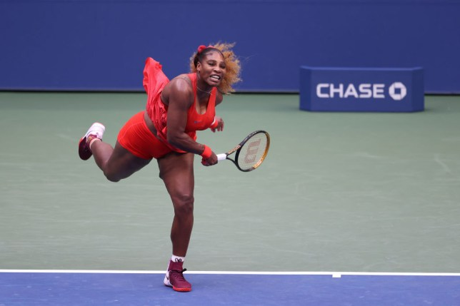 Serena Williams of the United States serves the ball during her Women's Singles first round match against Kristie Ahn of the United States on Day Two of the 2020 US Open at the USTA Billie Jean King National Tennis Center on September 1, 2020 in the Queens borough of New York City.