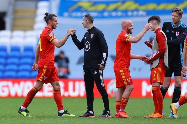 Tottenham star Gareth Bale and Manchester United legend Ryan Giggs bump fists after Wales' Nations League clash with Bulgaria