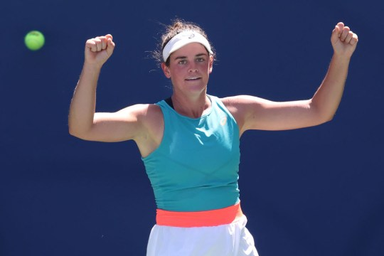 Jennifer Brady of the United States celebrates match point winning her Women's Singles fourth round match against Angelique Kerber of Germany on Day Seven of the 2020 US Open at the USTA Billie Jean King National Tennis Center on September 6, 2020 in the Queens borough of New York City.