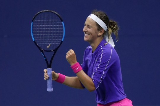 Victoria Azarenka of Belarus celebrates match point during her Women's Singles quarter-finals match win against Elise Mertens of Belgium on Day Ten of the 2020 US Open at the USTA Billie Jean King National Tennis Center on September 9, 2020 in the Queens borough of New York City.