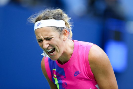 Victoria Azarenka of Belarus reacts in the third set during her Women's Singles final match against Naomi Osaka of Japan on Day Thirteen of the 2020 US Open at the USTA Billie Jean King National Tennis Center on September 12, 2020 in the Queens borough of New York City.