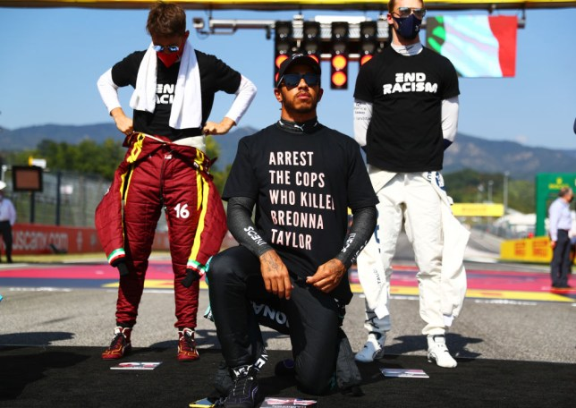 Lewis Hamilton wore a T-shirt which read 'arrest the cops who killed Breonna Taylor' before the Tuscan GP