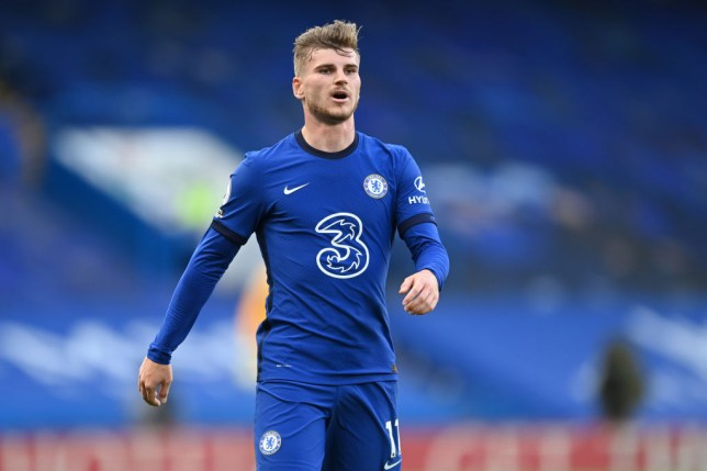 Timo Werner looks on during Chelsea's Premier League defeat to Liverpool