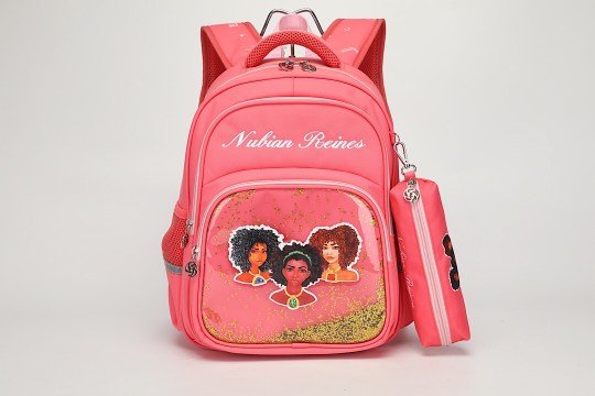 A pink backpack with three black princesses