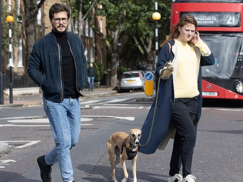 Kit Harington and Rose Leslie spotted on rare outing together as they walk their dog