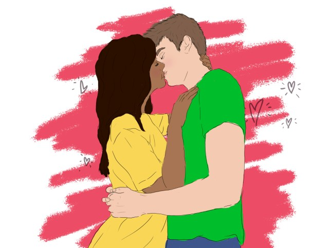 An illustration of a white man and a South Asian woman kissing