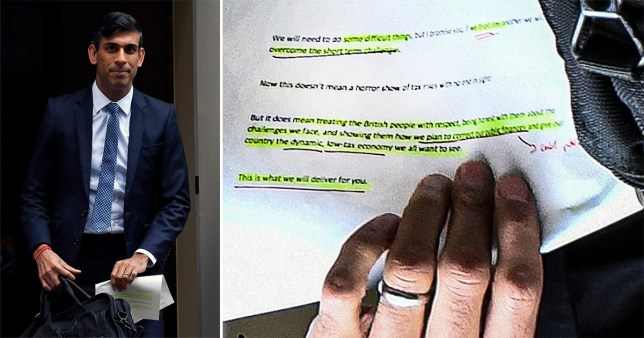 Rishi Sunak caught with notes on display outside Downing Street